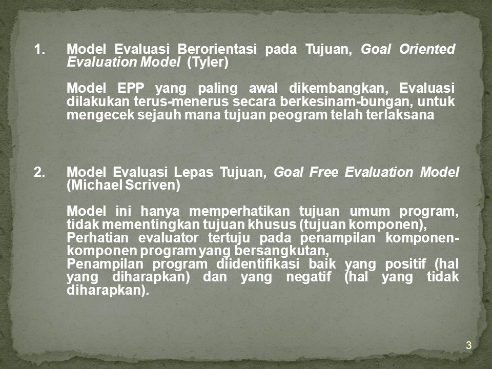 Model Evaluasi Berorientasi pada Tujuan, Goal Oriented Evaluation Model (Tyler)