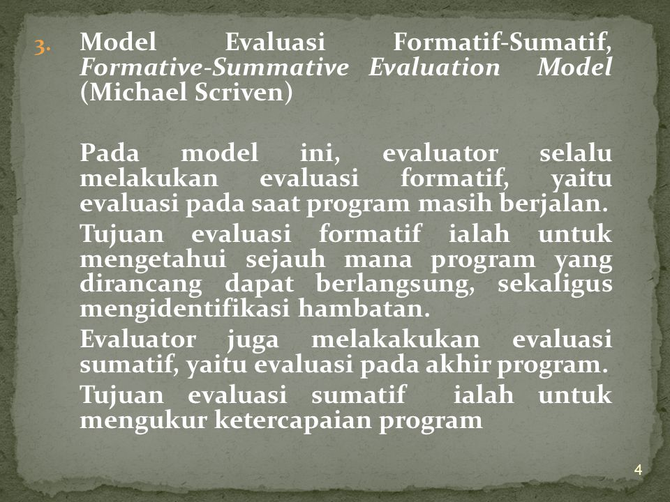 Model Evaluasi Formatif-Sumatif, Formative-Summative Evaluation Model (Michael Scriven)