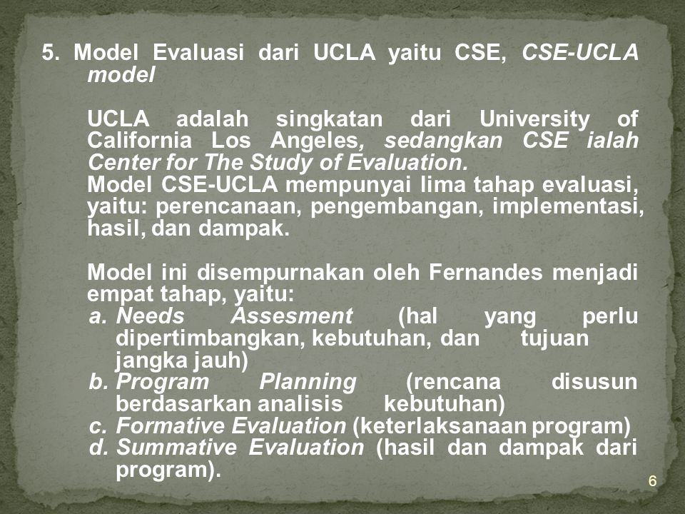 5. Model Evaluasi dari UCLA yaitu CSE, CSE-UCLA model
