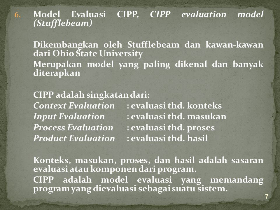 Model Evaluasi CIPP, CIPP evaluation model (Stufflebeam)