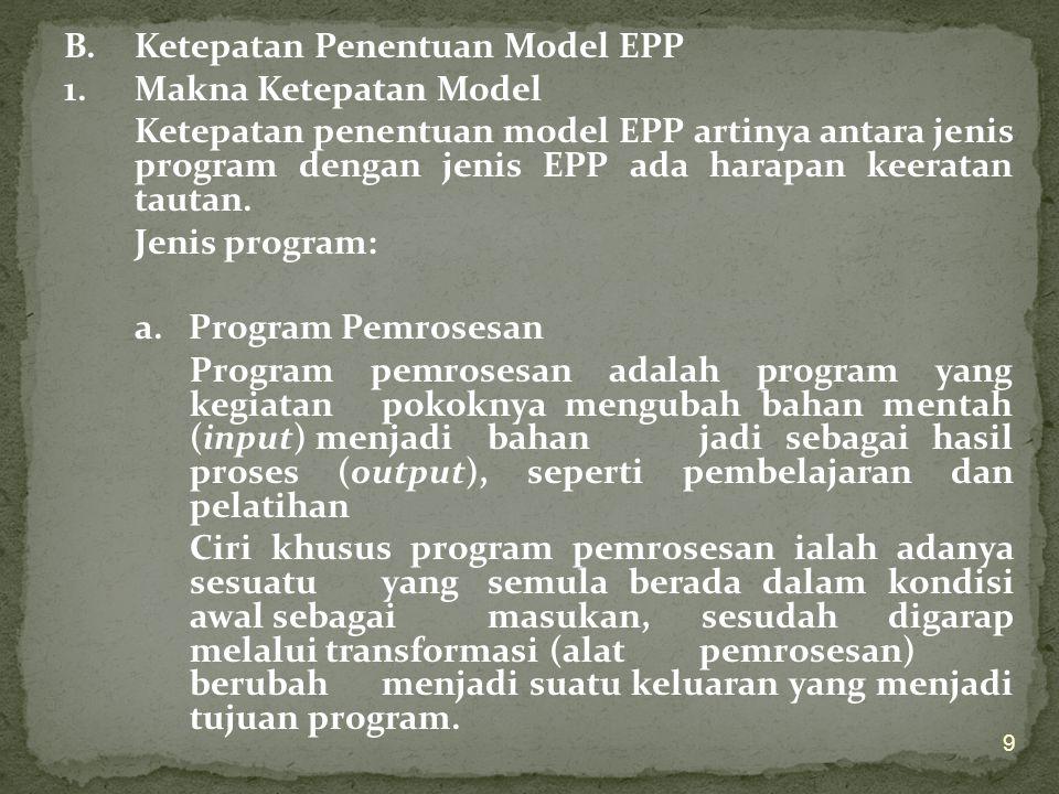 B. Ketepatan Penentuan Model EPP 1