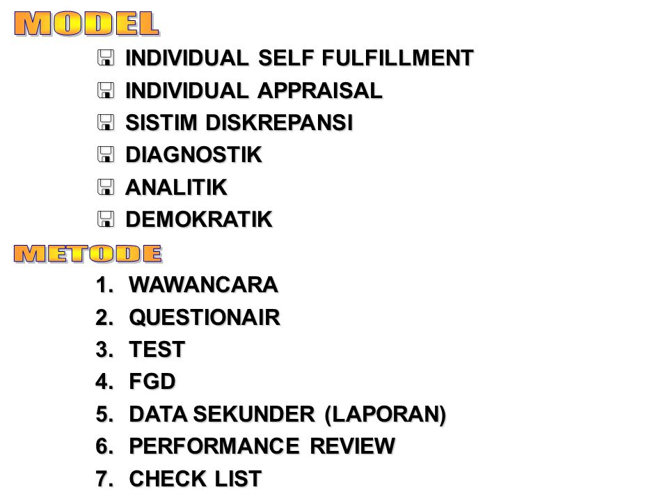 MODEL METODE INDIVIDUAL SELF FULFILLMENT INDIVIDUAL APPRAISAL
