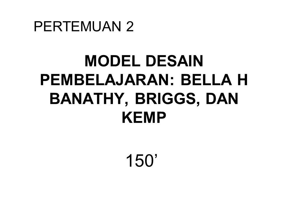 MODEL DESAIN PEMBELAJARAN: BELLA H BANATHY, BRIGGS, DAN KEMP