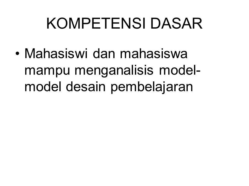 KOMPETENSI DASAR Mahasiswi dan mahasiswa mampu menganalisis model-model desain pembelajaran