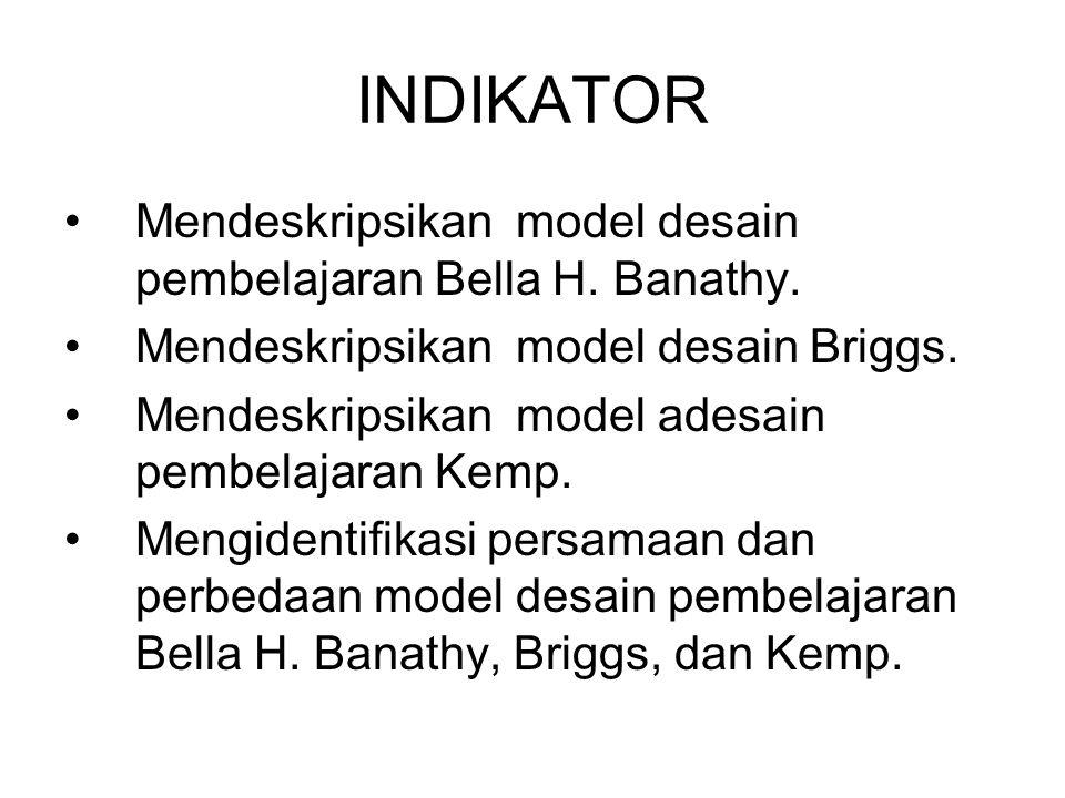 INDIKATOR Mendeskripsikan model desain pembelajaran Bella H. Banathy.