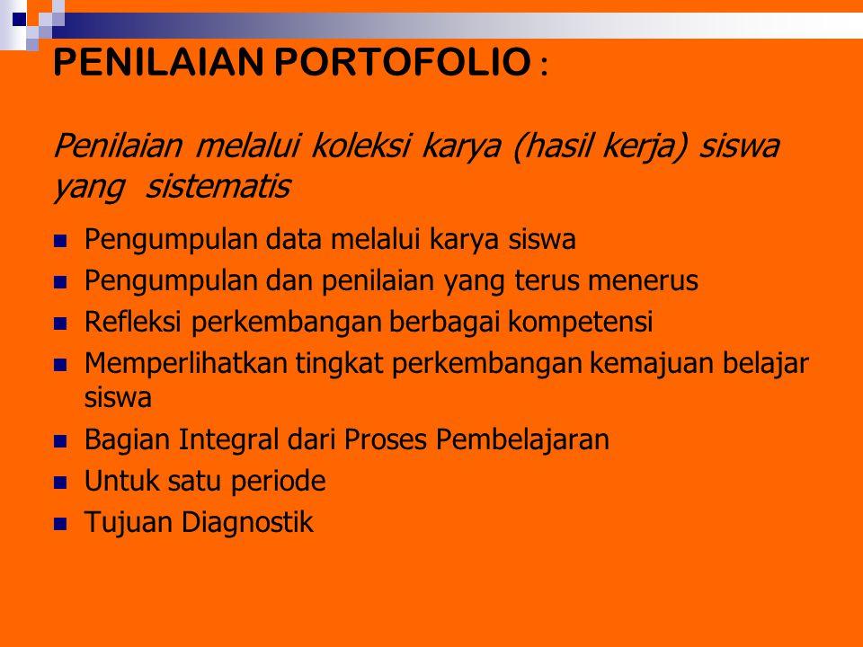 PENILAIAN PORTOFOLIO : Penilaian melalui koleksi karya (hasil kerja) siswa yang sistematis