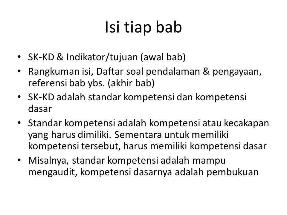Isi tiap bab SK-KD & Indikator/tujuan (awal bab)