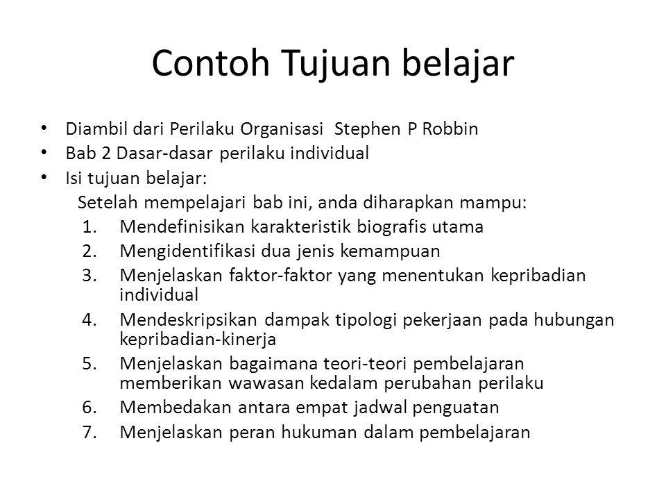 Contoh Tujuan belajar Diambil dari Perilaku Organisasi Stephen P Robbin. Bab 2 Dasar-dasar perilaku individual.
