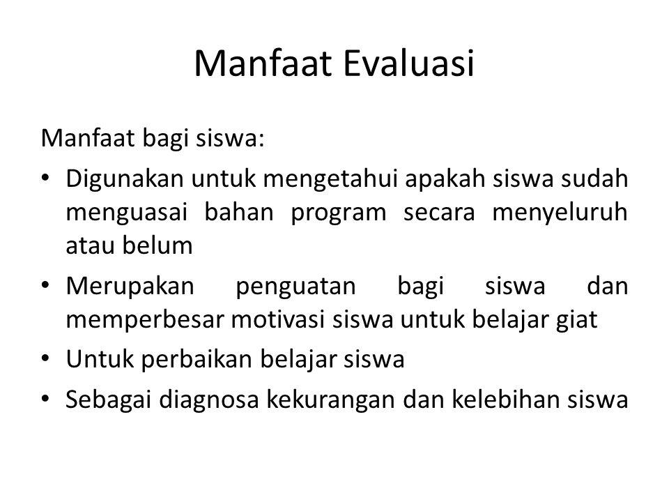 Manfaat Evaluasi Manfaat bagi siswa: