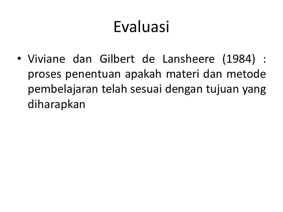 Evaluasi Viviane dan Gilbert de Lansheere (1984) : proses penentuan apakah materi dan metode pembelajaran telah sesuai dengan tujuan yang diharapkan.