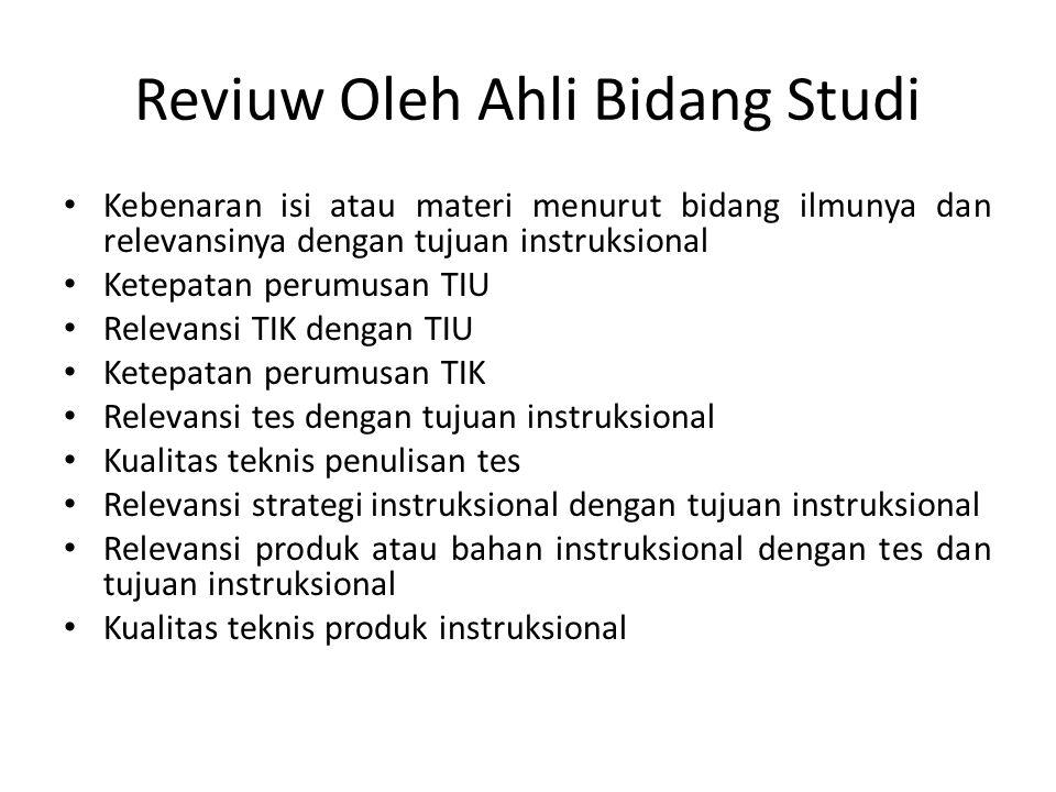 Reviuw Oleh Ahli Bidang Studi