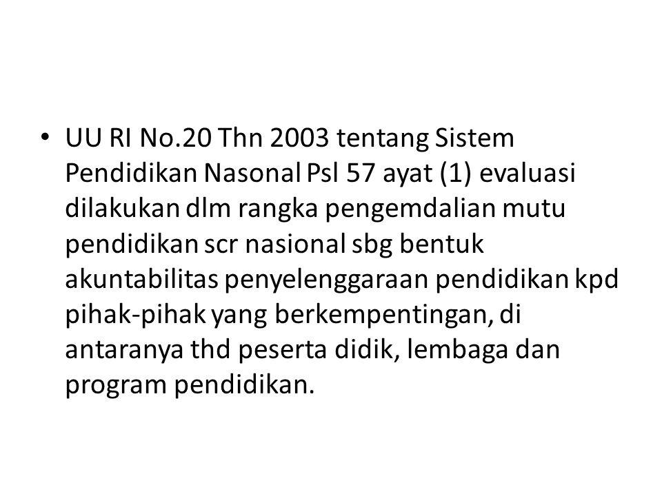 UU RI No.20 Thn 2003 tentang Sistem Pendidikan Nasonal Psl 57 ayat (1) evaluasi dilakukan dlm rangka pengemdalian mutu pendidikan scr nasional sbg bentuk akuntabilitas penyelenggaraan pendidikan kpd pihak-pihak yang berkempentingan, di antaranya thd peserta didik, lembaga dan program pendidikan.