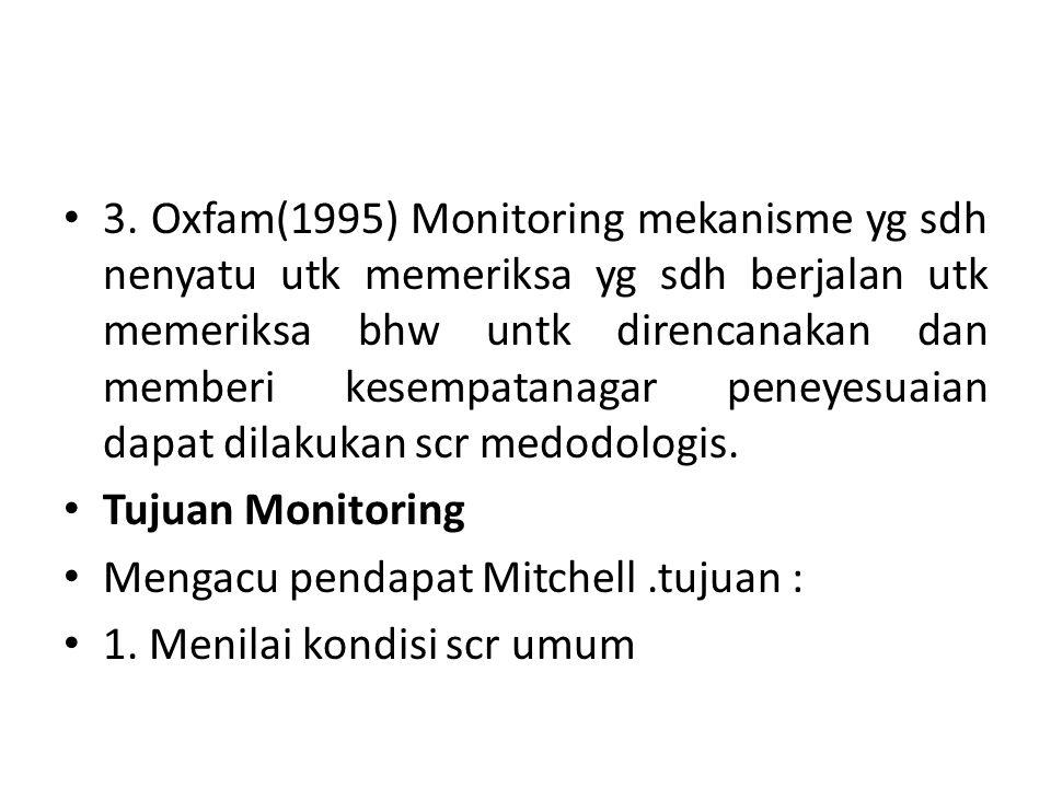 3. Oxfam(1995) Monitoring mekanisme yg sdh nenyatu utk memeriksa yg sdh berjalan utk memeriksa bhw untk direncanakan dan memberi kesempatanagar peneyesuaian dapat dilakukan scr medodologis.