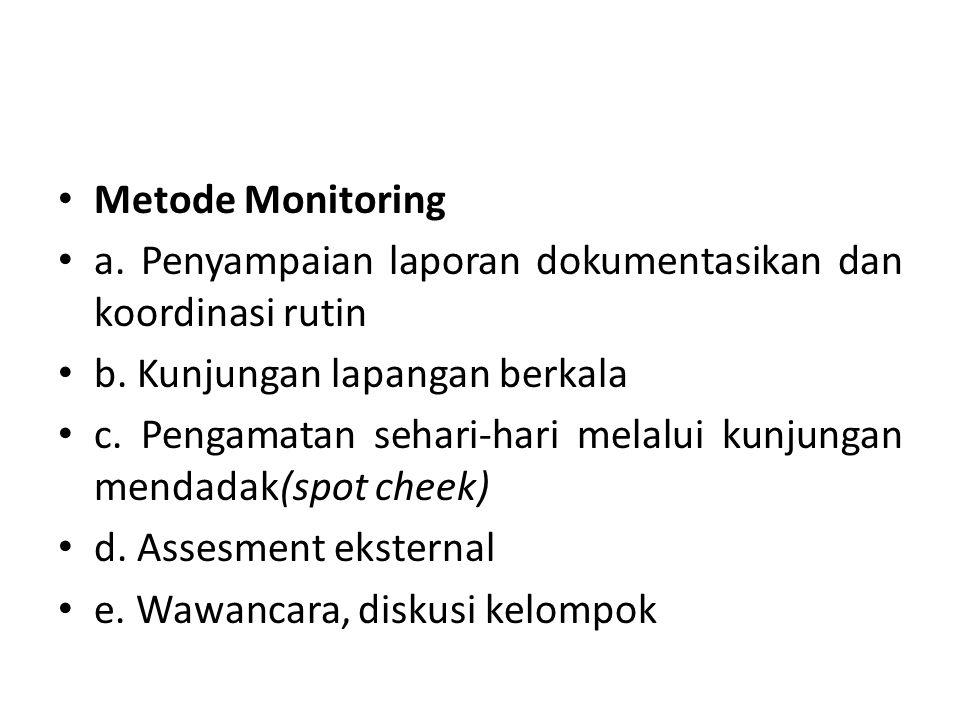 Metode Monitoring a. Penyampaian laporan dokumentasikan dan koordinasi rutin. b. Kunjungan lapangan berkala.