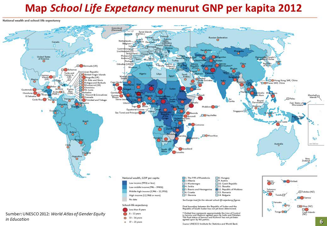 Map School Life Expetancy menurut GNP per kapita 2012