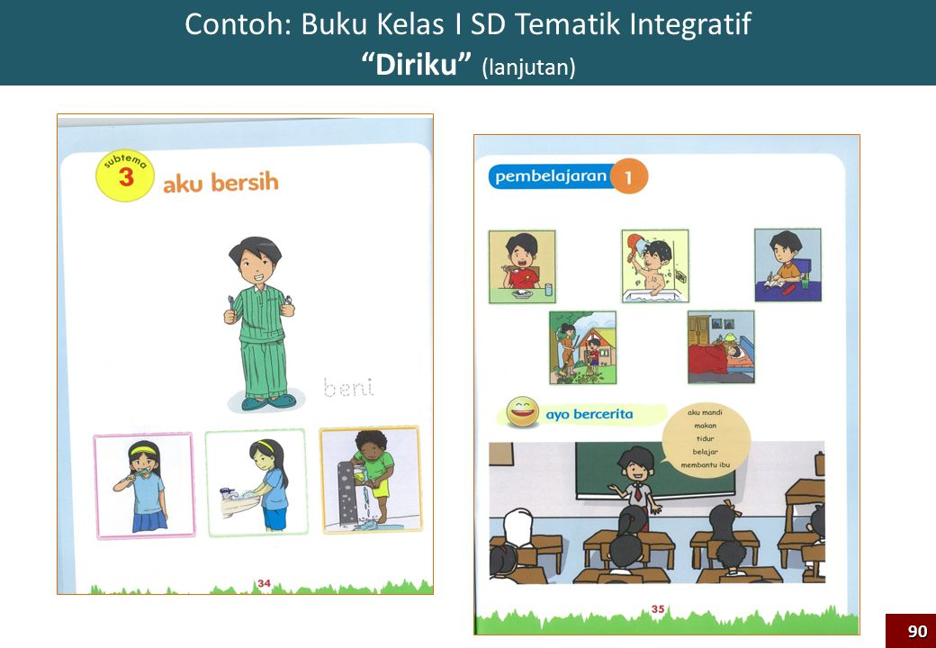 Contoh: Buku Kelas I SD Tematik Integratif Diriku (lanjutan)