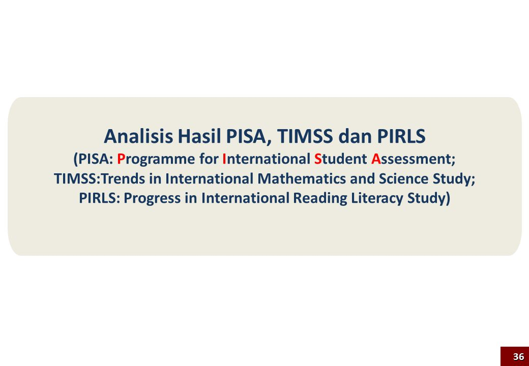 Analisis Hasil PISA, TIMSS dan PIRLS