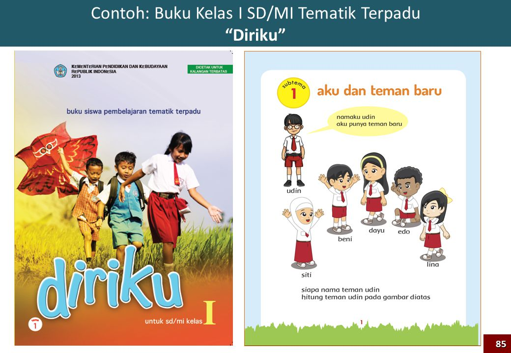 Contoh: Buku Kelas I SD/MI Tematik Terpadu Diriku