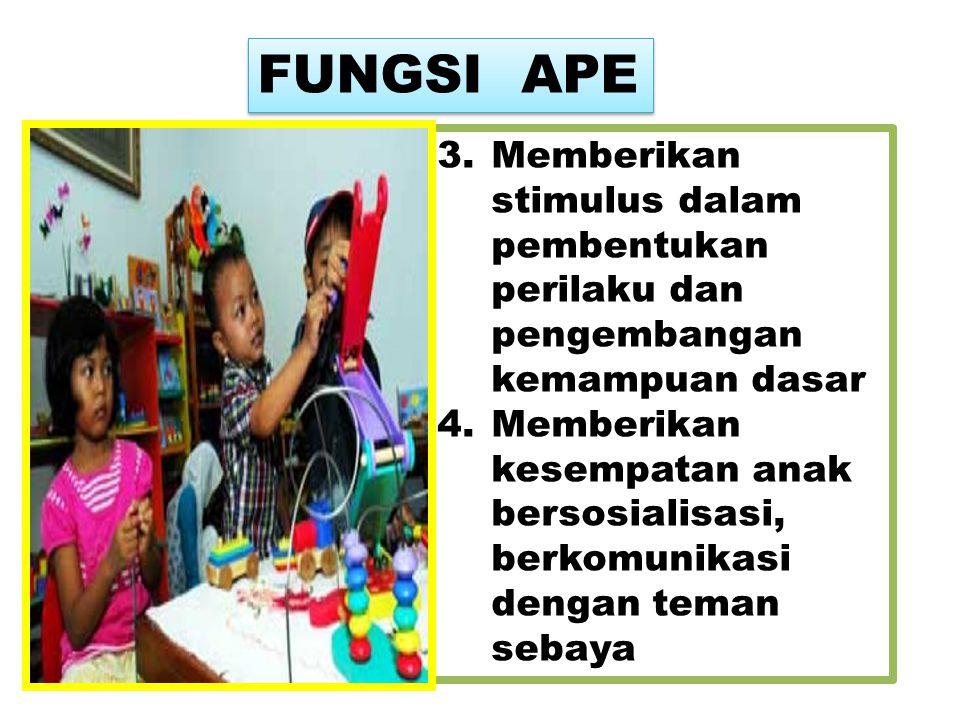 FUNGSI APE Memberikan stimulus dalam pembentukan perilaku dan pengembangan kemampuan dasar.