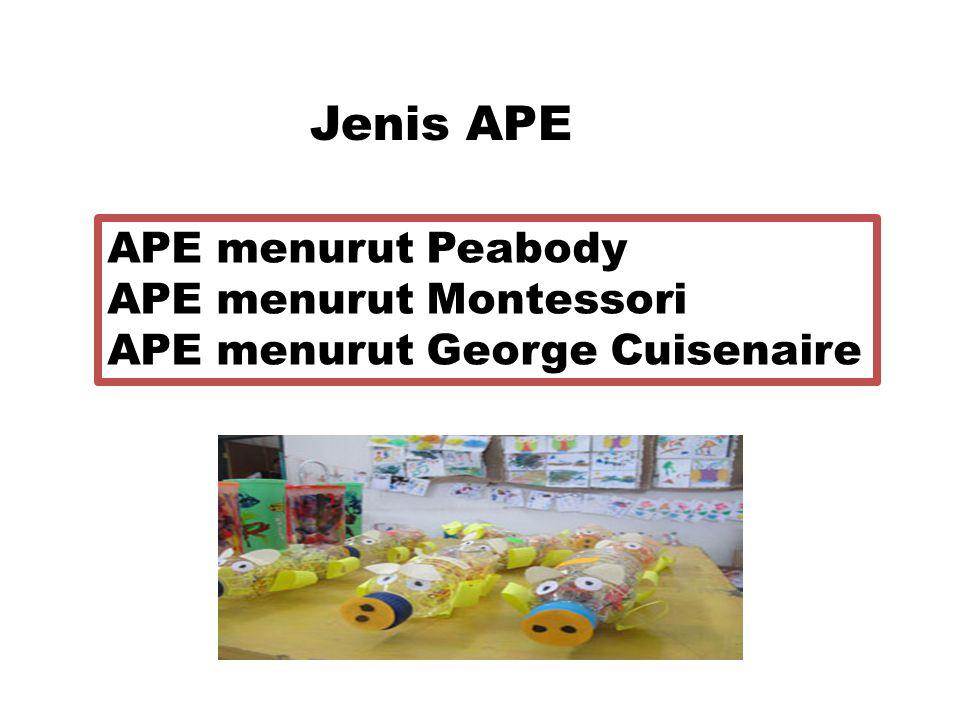 Jenis APE APE menurut Peabody APE menurut Montessori