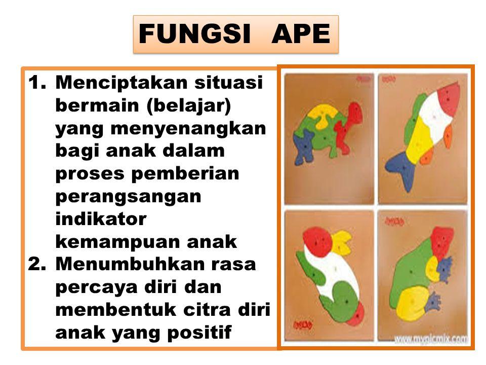FUNGSI APE Menciptakan situasi bermain (belajar) yang menyenangkan bagi anak dalam proses pemberian perangsangan indikator kemampuan anak.
