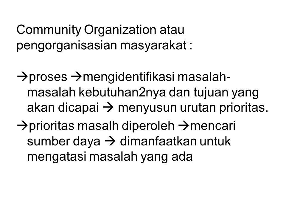 Community Organization atau pengorganisasian masyarakat :