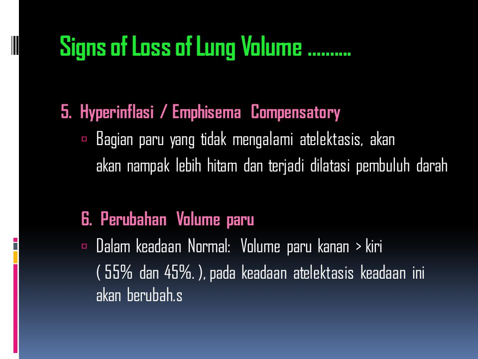 Signs of Loss of Lung Volume ..........