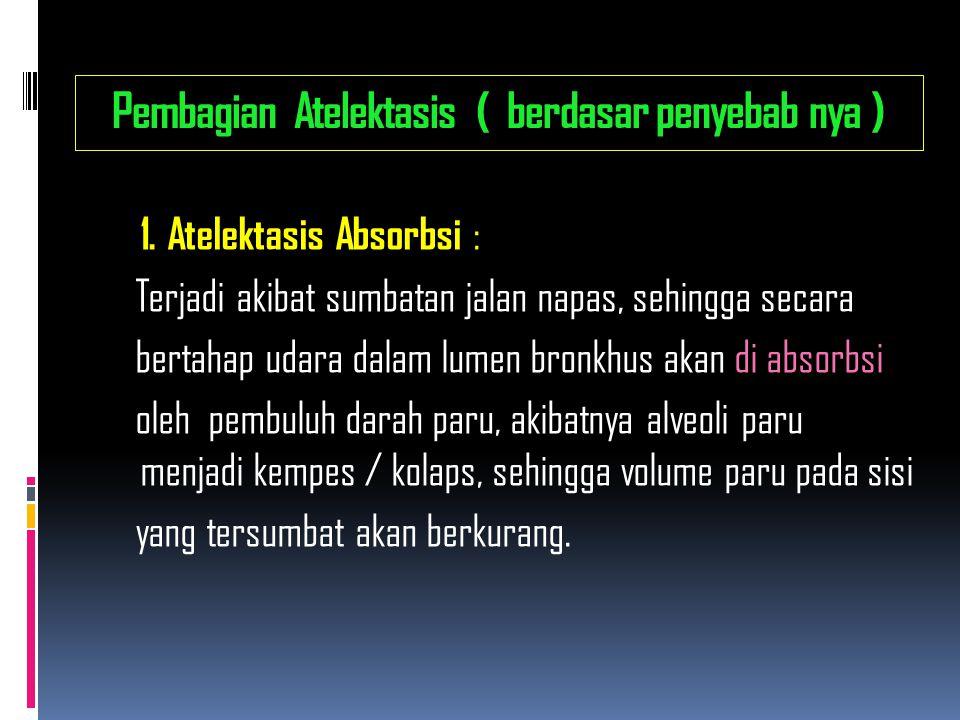 Pembagian Atelektasis ( berdasar penyebab nya )