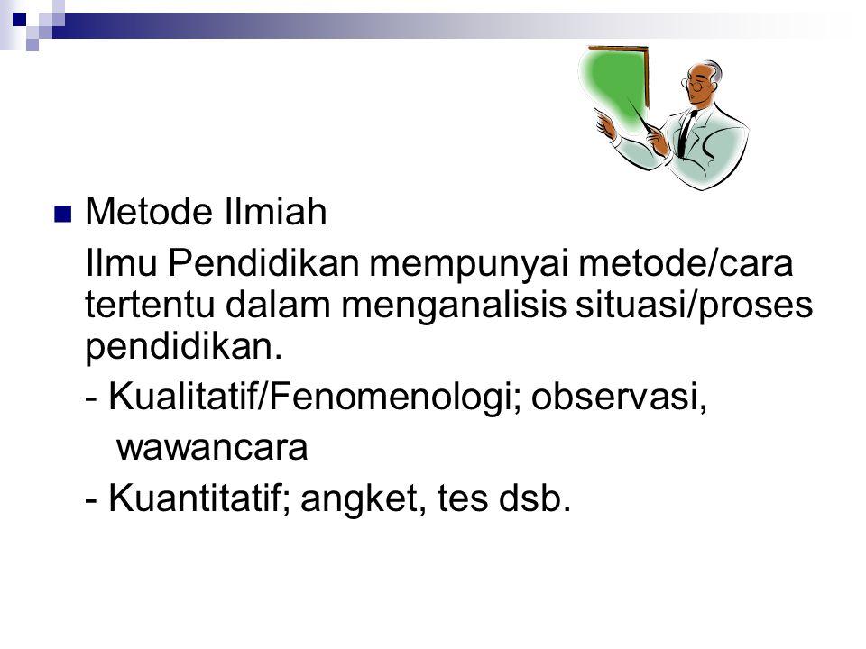 Metode Ilmiah Ilmu Pendidikan mempunyai metode/cara tertentu dalam menganalisis situasi/proses pendidikan.