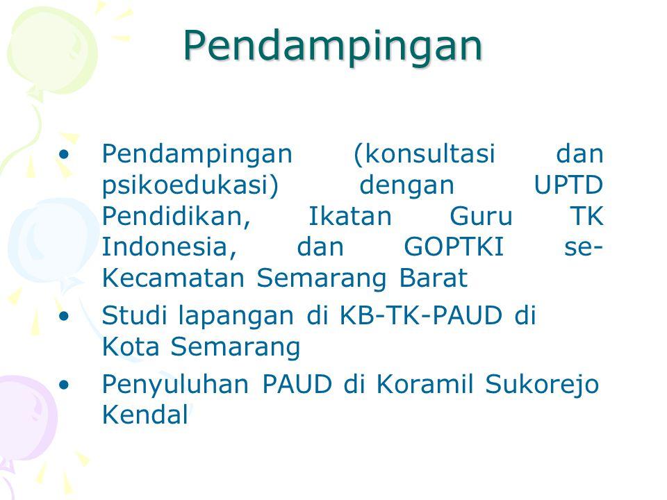 Pendampingan Pendampingan (konsultasi dan psikoedukasi) dengan UPTD Pendidikan, Ikatan Guru TK Indonesia, dan GOPTKI se- Kecamatan Semarang Barat.