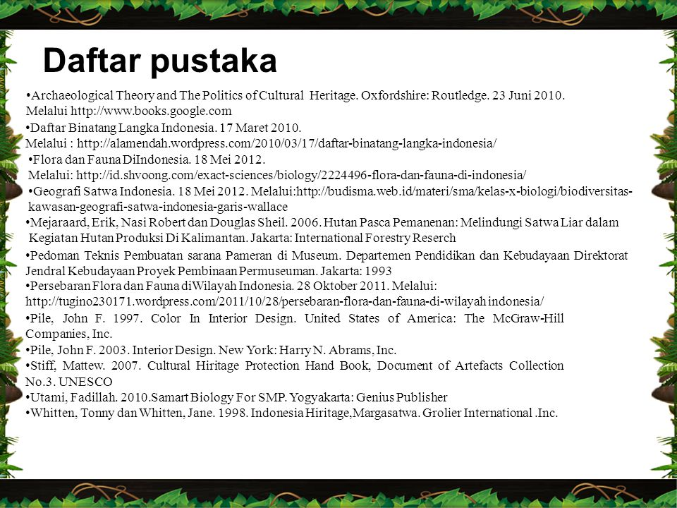 Daftar pustaka Archaeological Theory and The Politics of Cultural Heritage. Oxfordshire: Routledge. 23 Juni 2010.