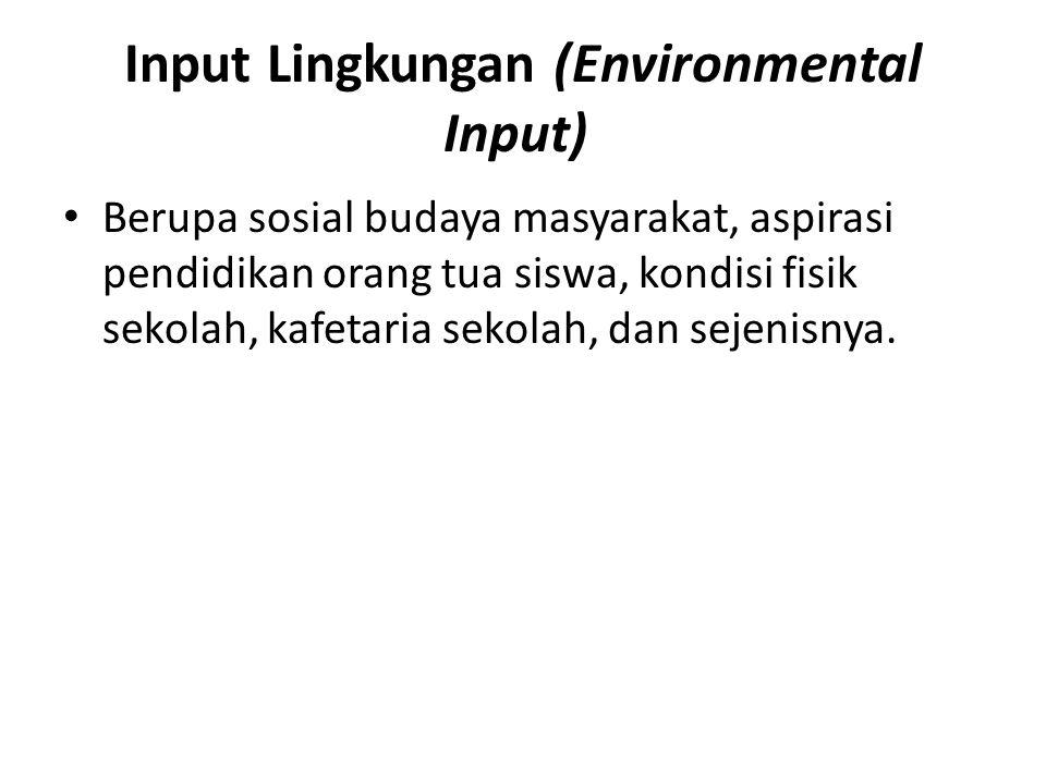 Input Lingkungan (Environmental Input)