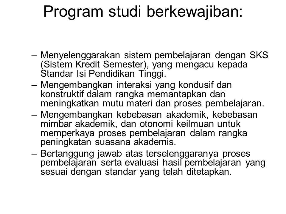 Program studi berkewajiban: