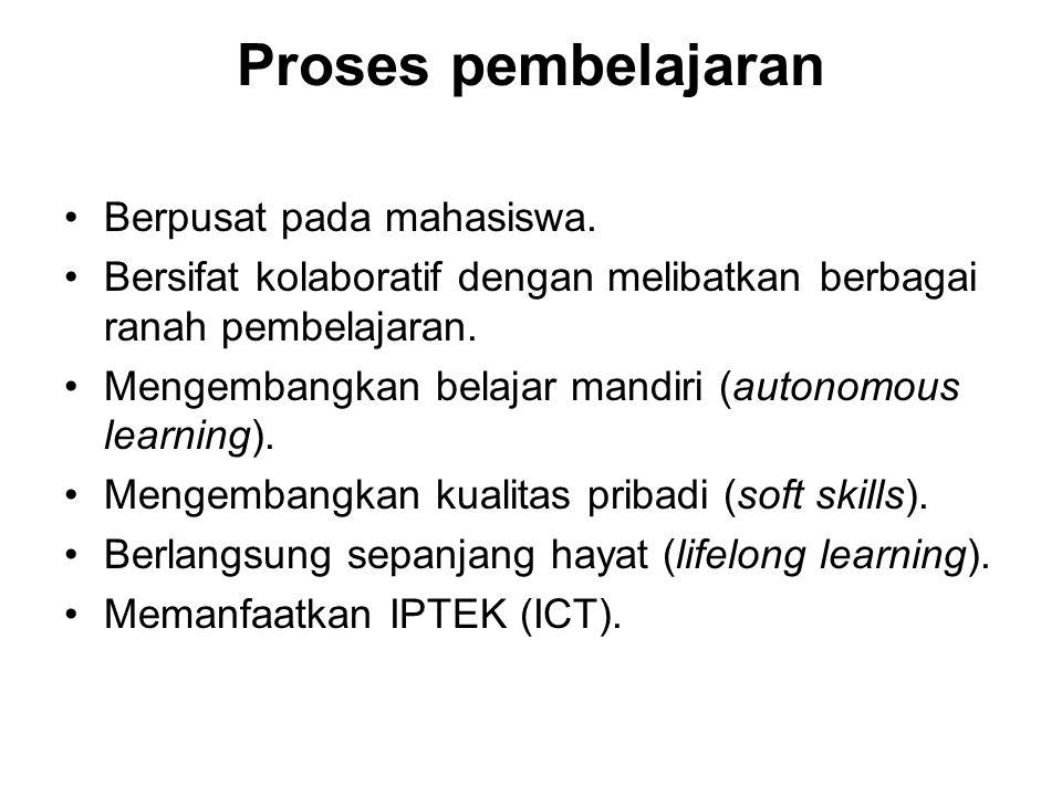 Proses pembelajaran Berpusat pada mahasiswa.