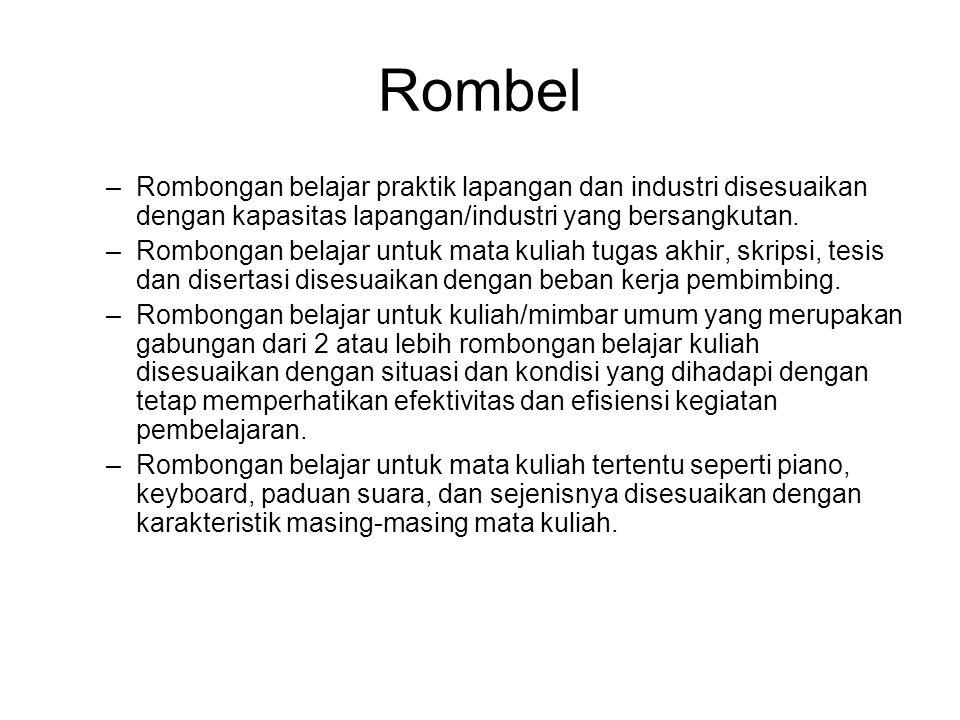 Rombel Rombongan belajar praktik lapangan dan industri disesuaikan dengan kapasitas lapangan/industri yang bersangkutan.