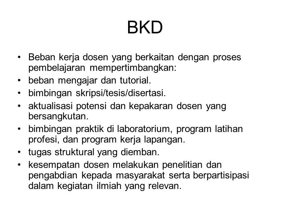BKD Beban kerja dosen yang berkaitan dengan proses pembelajaran mempertimbangkan: beban mengajar dan tutorial.