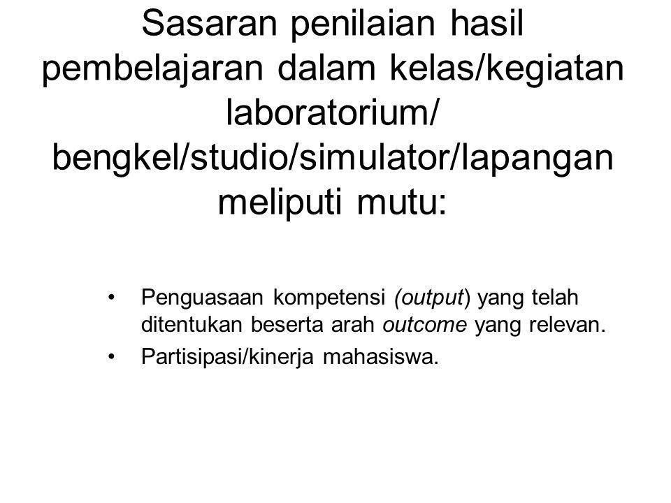 Sasaran penilaian hasil pembelajaran dalam kelas/kegiatan laboratorium/ bengkel/studio/simulator/lapangan meliputi mutu: