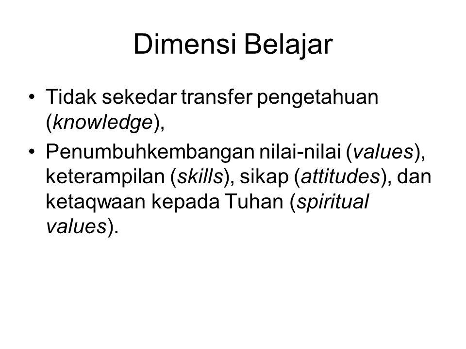 Dimensi Belajar Tidak sekedar transfer pengetahuan (knowledge),