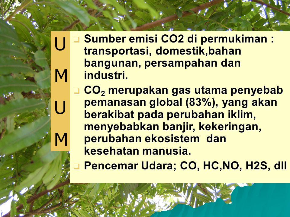 U M. Sumber emisi CO2 di permukiman : transportasi, domestik,bahan bangunan, persampahan dan industri.