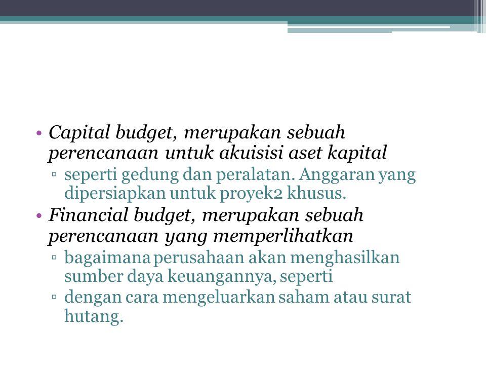 Financial budget, merupakan sebuah perencanaan yang memperlihatkan