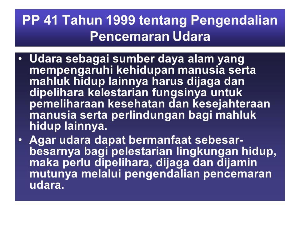 PP 41 Tahun 1999 tentang Pengendalian Pencemaran Udara