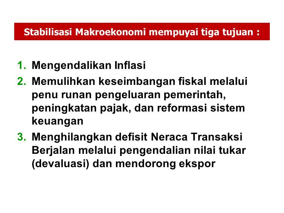 Stabilisasi Makroekonomi mempuyai tiga tujuan :