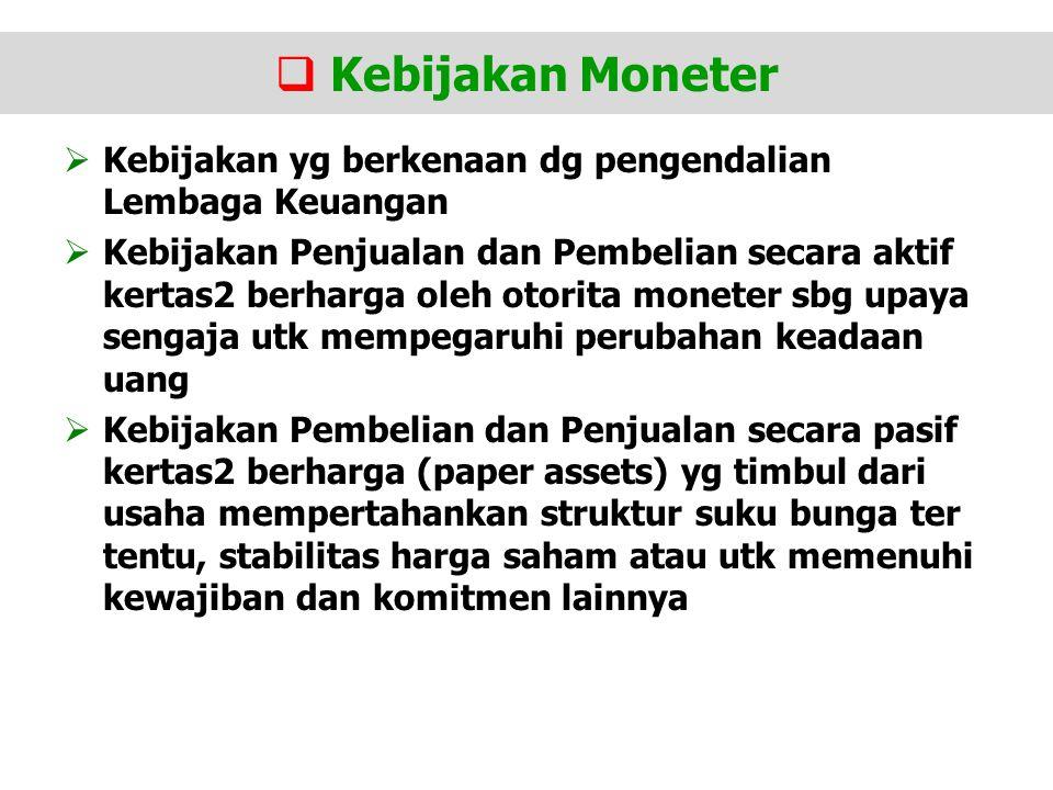Kebijakan Moneter Kebijakan yg berkenaan dg pengendalian Lembaga Keuangan.