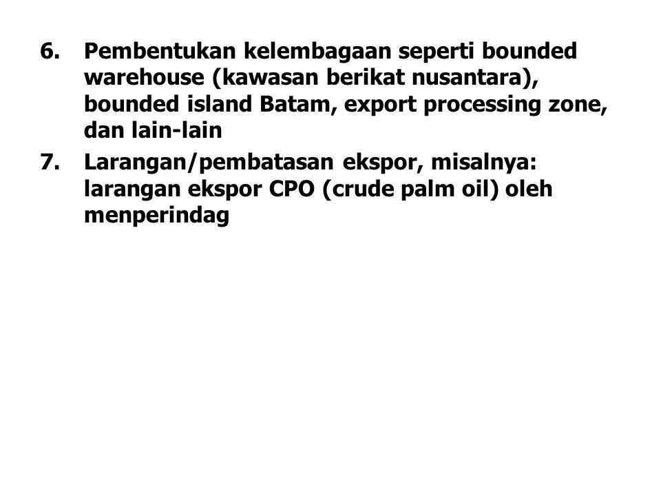 Pembentukan kelembagaan seperti bounded warehouse (kawasan berikat nusantara), bounded island Batam, export processing zone, dan lain-lain