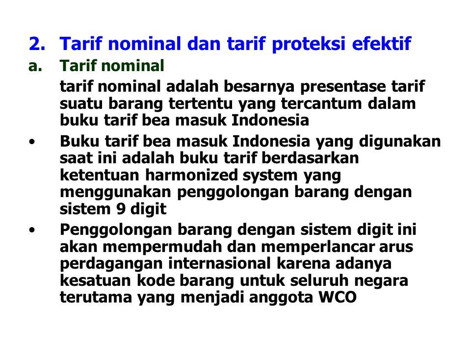 Tarif nominal dan tarif proteksi efektif
