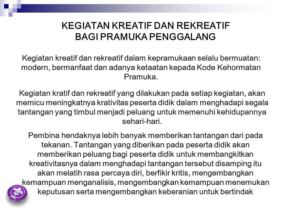 KEGIATAN KREATIF DAN REKREATIF BAGI PRAMUKA PENGGALANG