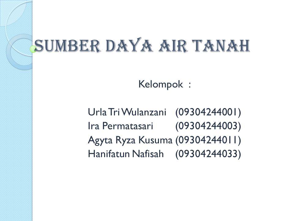 SUMBER DAYA AIR TANAH Kelompok : Urla Tri Wulanzani (09304244001)