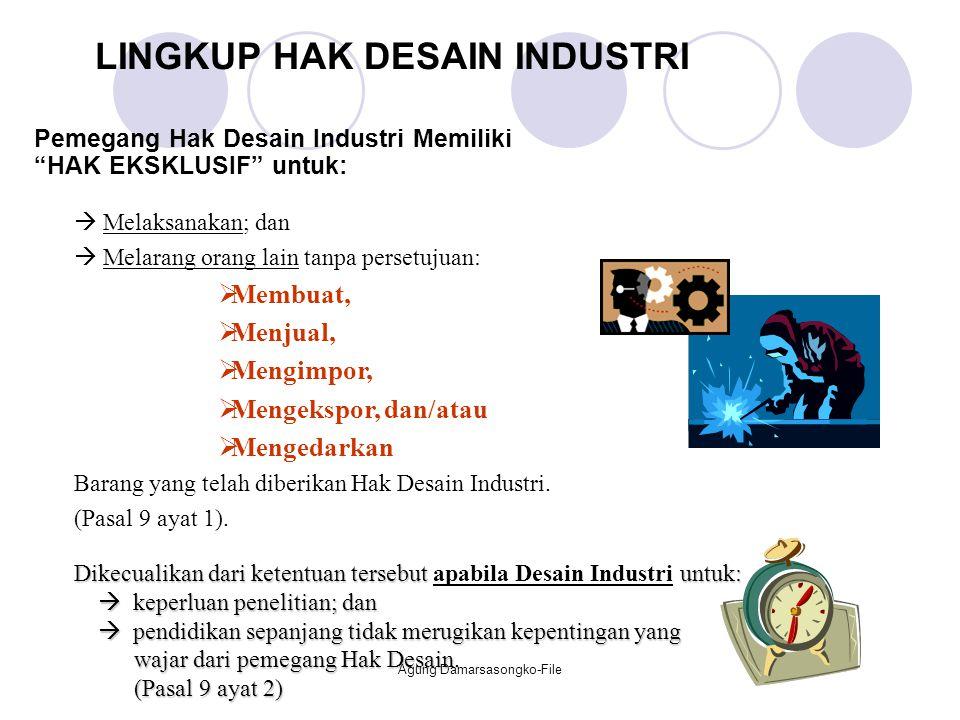 Pemegang Hak Desain Industri Memiliki HAK EKSKLUSIF untuk: