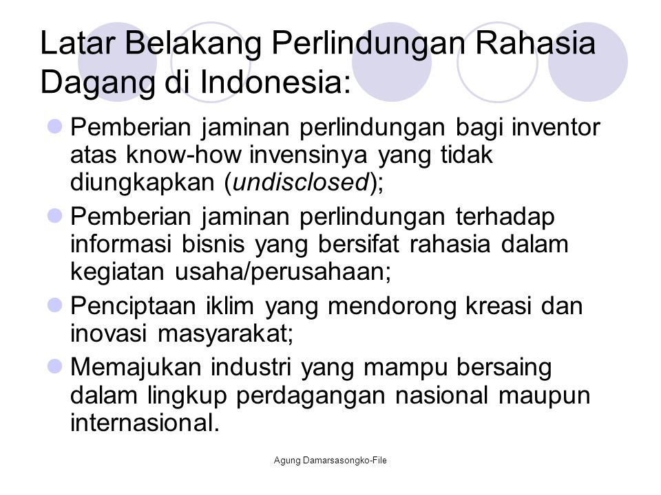 Latar Belakang Perlindungan Rahasia Dagang di Indonesia: