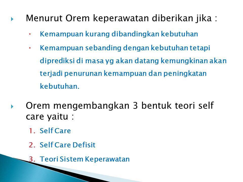 Menurut Orem keperawatan diberikan jika :